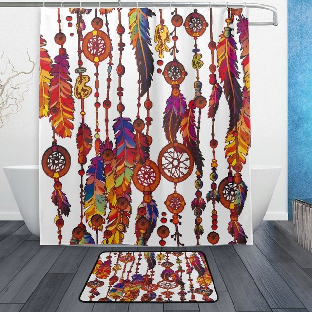 Dream Catcher Shower Curtain And Mat Set Colorful Feather Tribal Ethnic Waterproof Fabric Bathroom