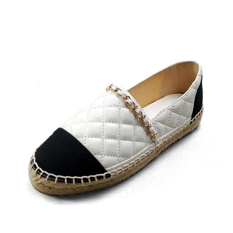 Chain Women Espadrilles Shoes flat Genuine Leather shoes Woman Casual Loafers High Quality Spring Autumn Big Size 34-42