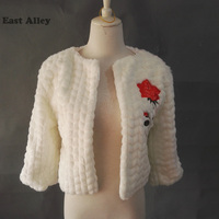 Winter Warm Black Ivory Faux Fur Coat Lace appliqued Wedding Bridal Wraps Shawl Bride Cape Fur Bolero Wedding Jackets / Wrap