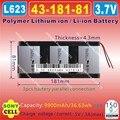 [L623] 3.7 V, 9900 mAH, [4318181] PLIB (polímero de íon de lítio/bateria de Iões de lítio) para tablet pc, PIPO M9 pro 3g/max M9 quad core