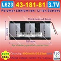 [L623] 3.7V,9900mAH,[4318181] PLIB ( polymer lithium ion / Li-ion battery ) for tablet pc,PIPO M9 pro 3g / max M9 quad core