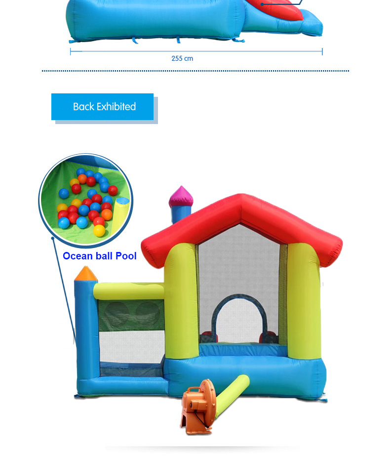 HTB1qc2IPFXXXXasXFXXq6xXFXXXS - Mr. Fun Inflated Bouncing Castle Mushroom Jumper Playhouse with Kids Slide, Ball Pool, & Target Game with Blower