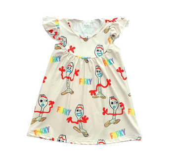 Brand new design baby girls' dresses pearl sleeve in cute forky prints kids wear clothing - DISCOUNT ITEM  0% OFF All Category