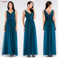 V Neck Long Bridesmaid Dresses Ever Pretty V Back Pleated Tulle Empire Formal Gowns Ruched Mesh Teal Dress For Wedding Party