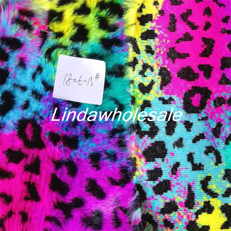 Multi color jacquard leopard print rabbit fur Clothing and shoes materials Photography background cloth 160cm 90cm