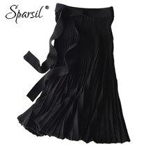 Falda larga de punto de lana de invierno para mujer de Sparsil, Falda plisada de color liso, cinto con lazo, cinturón de oficina para mujer, línea A, negro, gris, faldas de punto para mujer