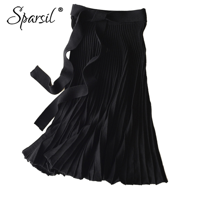 Sparsil Women Winter Wool Knitted Long Skirt Pleated Solid Bow Sash Belt Office Lady A Line Black Gray Female Knitwear Skirts