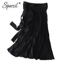 Женская Длинная шерстяная юбка Sparsil, однотонная плиссированная офисная юбка трапециевидной формы с поясом и бантом, цвета: черный, серый, для зимы