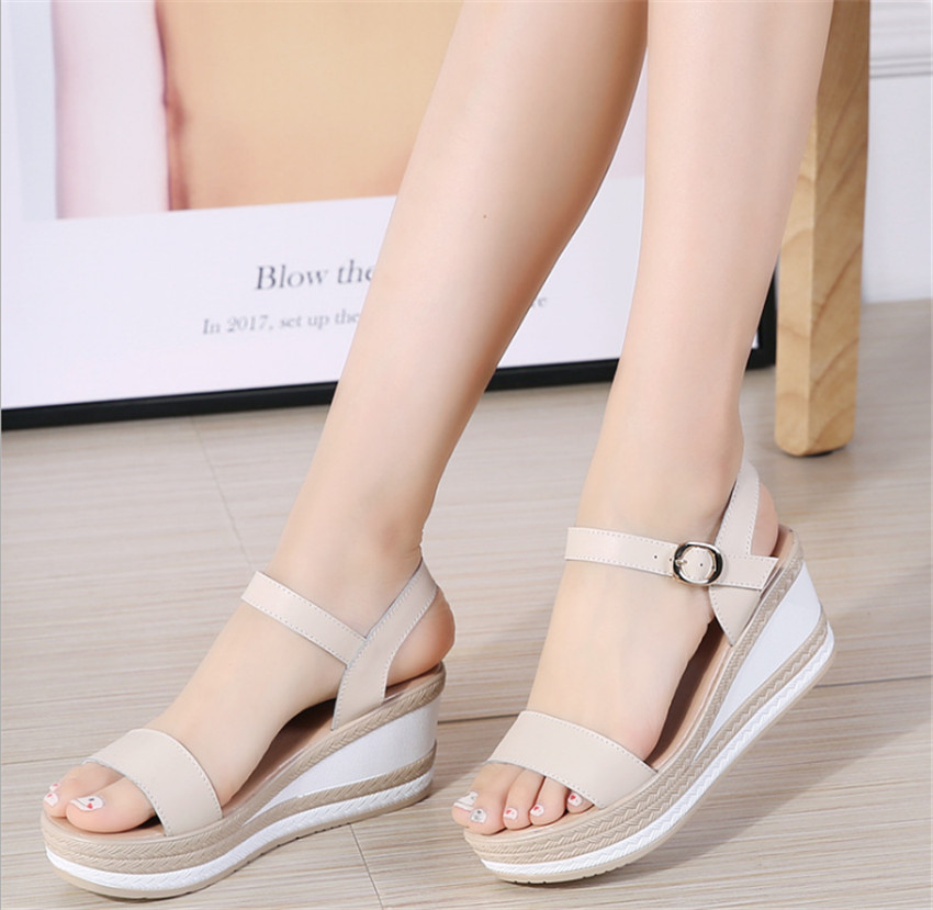MLRCRIYG 2018 summer new high heeled thick bottom waterproof table ladies sandals