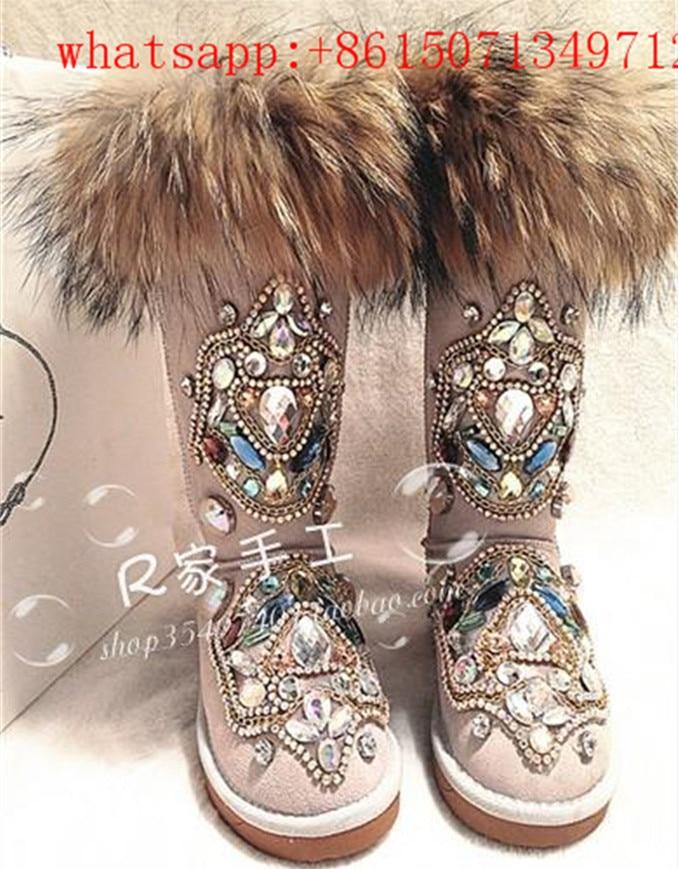 Hot Fashion Luxury Chaussure Femme Fox Fur Crystal Australian Snow Boots Mesh Furry Flat Shoes Winter Plush Rubber Boot Woman