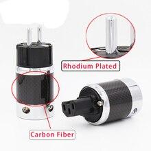 Non imprimés En Fiber De Carbone Rhodium Plaqué Schuko Plug Power Connecteur IEC Connecteur Femelle
