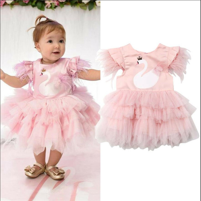 Princess Dress Tutu Ball-Gown Swan Feathers-Sleeve Wedding Party-Pageant Girl Formal