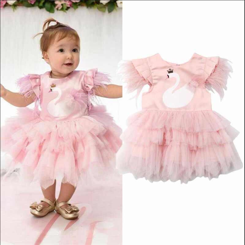 Formal Kids Baby Girls Swan Party Pageant Princess Dress Feathers Sleeve Tulle Tutu Wedding Birthday Dress Girl Ball Gown 6M-5Y