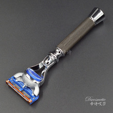 Razor Holder with 5 Blade for Men Safety copper non-slip handle of the grid 5 Razor Blade Replaceable Head