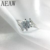 AEAW 0,8 карат 6 мм круглый разрез D Цвет обручение и свадебные муассанит кольцо с бриллиантами платина покрытием серебро