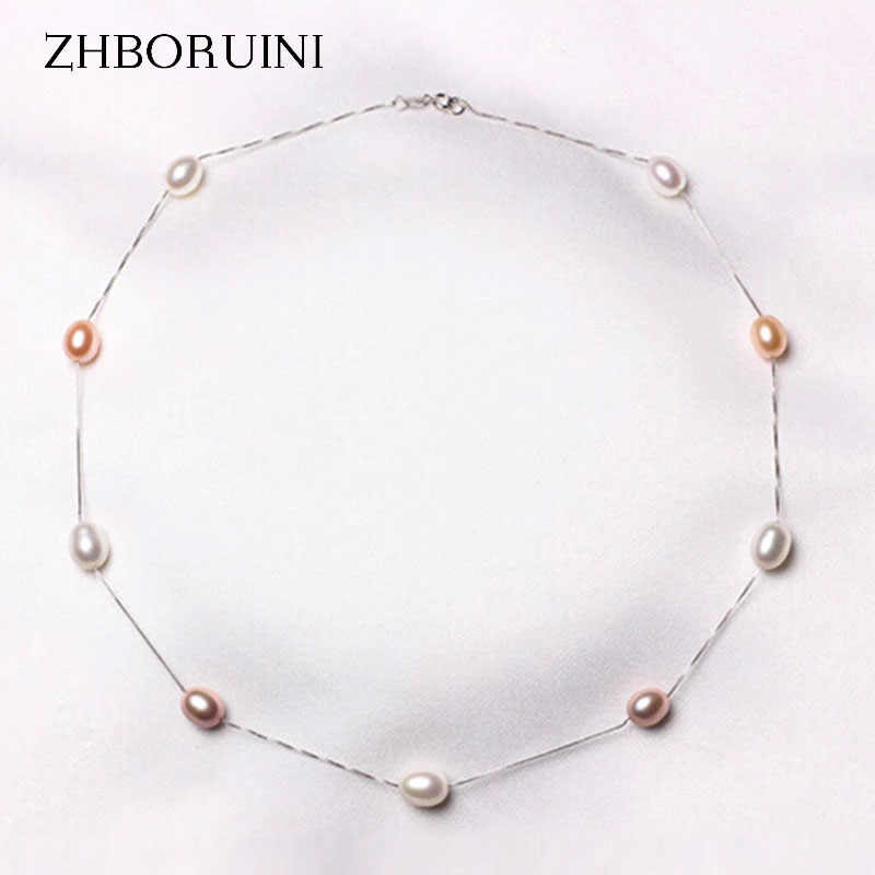ZHBORUINI Fine Pearl Necklace 925 Sterling Silver Pearl Jewelry Natural Freshwater Pearl Choker Pendants Jewelry For Women Gift