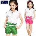 2016 meninas terno de algodão costura shorts de algodão terno das crianças roupas de verão Coreano modelos de explosão de cores de frutas