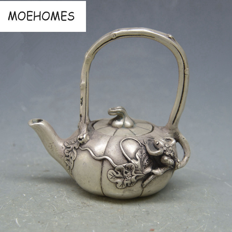 Collectible Decor Old Handwork Miao Silver Carved Dragon Bamboo TeaPot