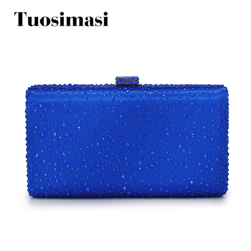 Famous Brand Women Evening Bags Crystal Clutch Bag River Pattern Wedding Party Purse Royal Blue Crossbody Handbags(C145)