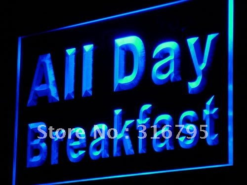 i862 All Day Breakfast Cafe Restaurant LED Neon Light NR On/Off Swtich 20+ Colors 5 Sizes