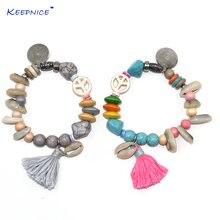 Новые богемные пляжные браслеты из раковин красочные каменные