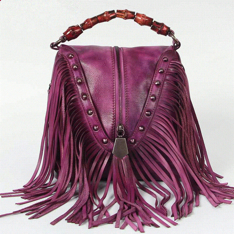 2017 New Vintage Women Lady Genuine Leather Tassels Rivet Handbags Handbag Shoulder Bag Crossbody Messenger Bags Special Handle lacattura small bag women messenger bags split leather handbag lady tassels chain shoulder bag crossbody for girls summer colors