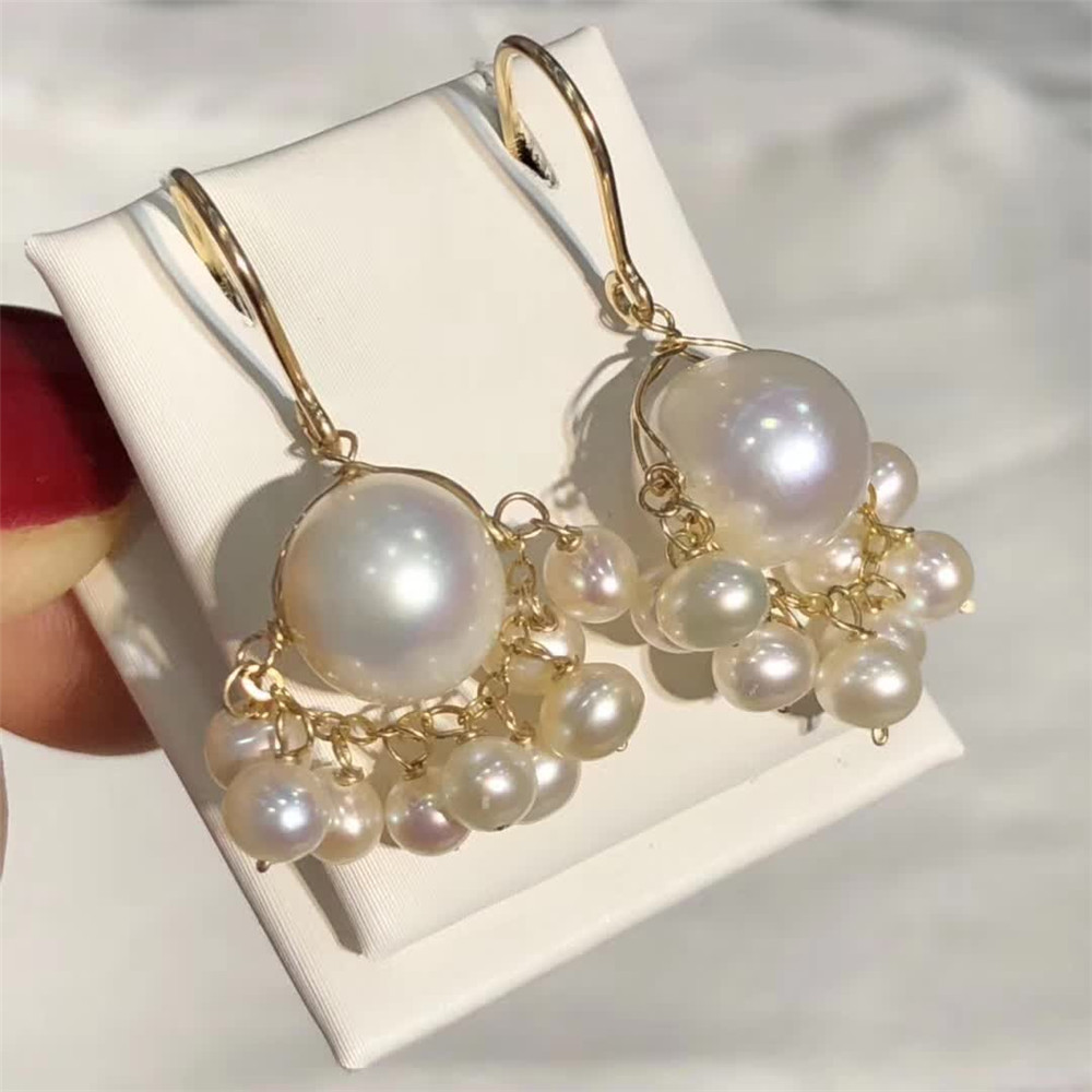 hand made fine jewelry factory wholesale fashion 14k gold wrap natural white pearl gemstone pendant earring 1