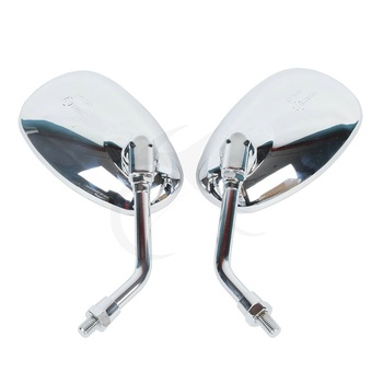 Pair of 10MM Chrome Side Rear View Mirrors For YAMAHA XJR XV XVS V-MAX FZ6N FZ1N MT-01 MT-03 VMAX1700 V-MAX1200 2