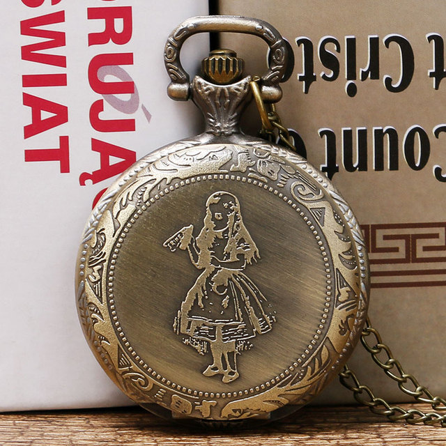 Alice in Wonderlan Theme Bronze Pendant Pocket Watch With Necklace Chain Gift Fo