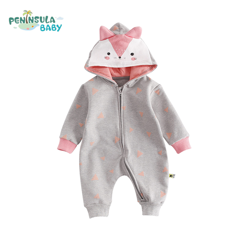 2017 Baby Long Sleeves Cotton Hooded Rompers Newborn Baby Comfortable Toddler Boys Girls Cartoon Kids Warm Plus Velvet Clothes new baby kids autumn winter warm cotton beanie hat toddler girls boys caps cute baby cartoon bear ear beanies 1pc f011