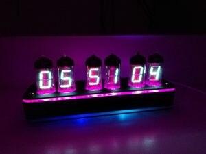 6 bitów IV11 blask lampy led zegar cyfrowy Nixie Tube zestaw do zegara DIY elektroniczny Retro zegar na biurko 5V Micro USB zasilany energią słoneczną
