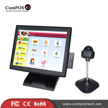 High reputation pos terminal linux all in one pc stand 15 inch touch screen with MSR and barcode scanner