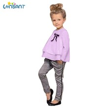 ab7e3b40d642 (Ship from US) LONSANT Toddler Baby Kids Girls Outfits Ruffle T Shirt  Tops+Checked Pants Clothes Set Long Sleeves College Style Autumn Clothing