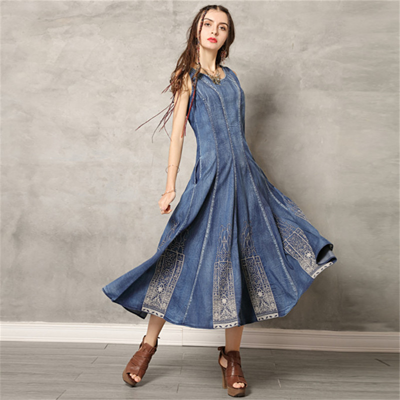 Vintage Swing Hem Summer Dress 2019 Denim Women Dresses O Neck Sleeveless Sundress Embroidery Vestido Tank
