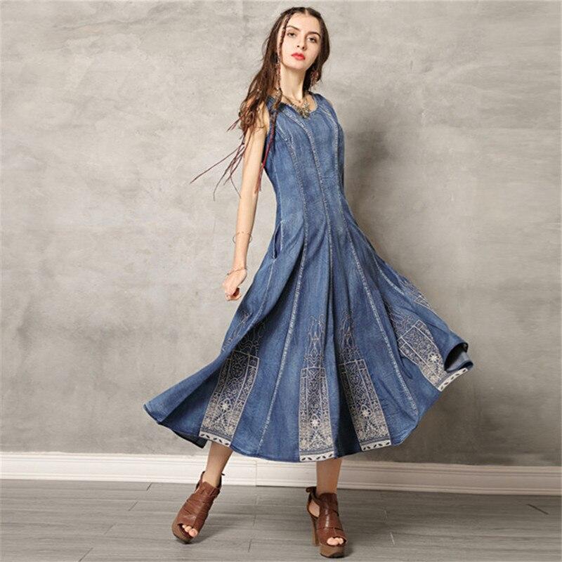 ヴィンテージスイング裾夏ドレス 2019 デニム女性ドレス O ネックノースリーブサンドレス刺繍 Vestido タンクドレス Vestidos  グループ上の レディース衣服 からの ドレス の中 1