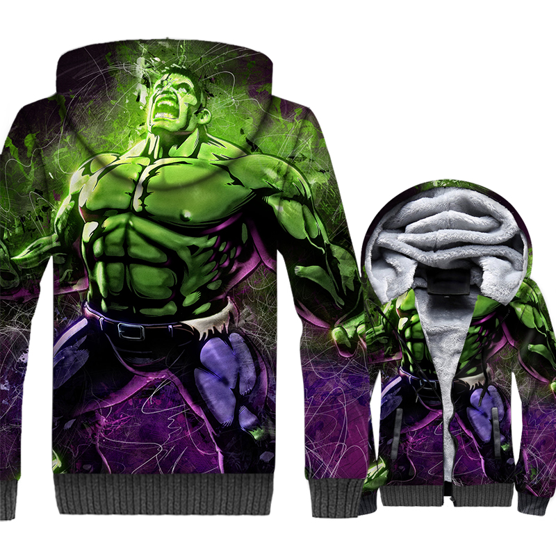 Super Hero Hulk Jacket Men Hoodie New Design Winter Thick Fleece Warm Fitness Coat 3D Print Musclefitting Hooded Sweatshirt Mens