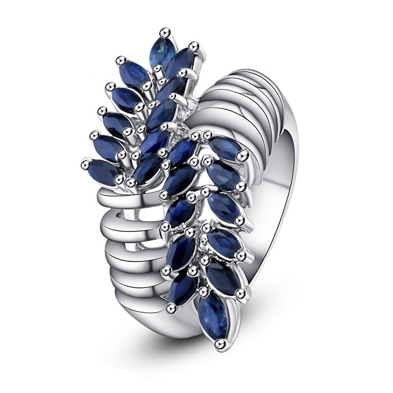 Blue Natural Sapphire Luxury Feather Arrow Gift 925 Sterling Silver Ring