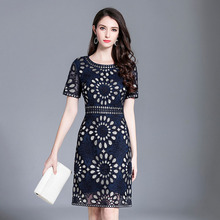 2019 spring and summer high-end boutique womens clothing European American style embroidery string rope slim dress women