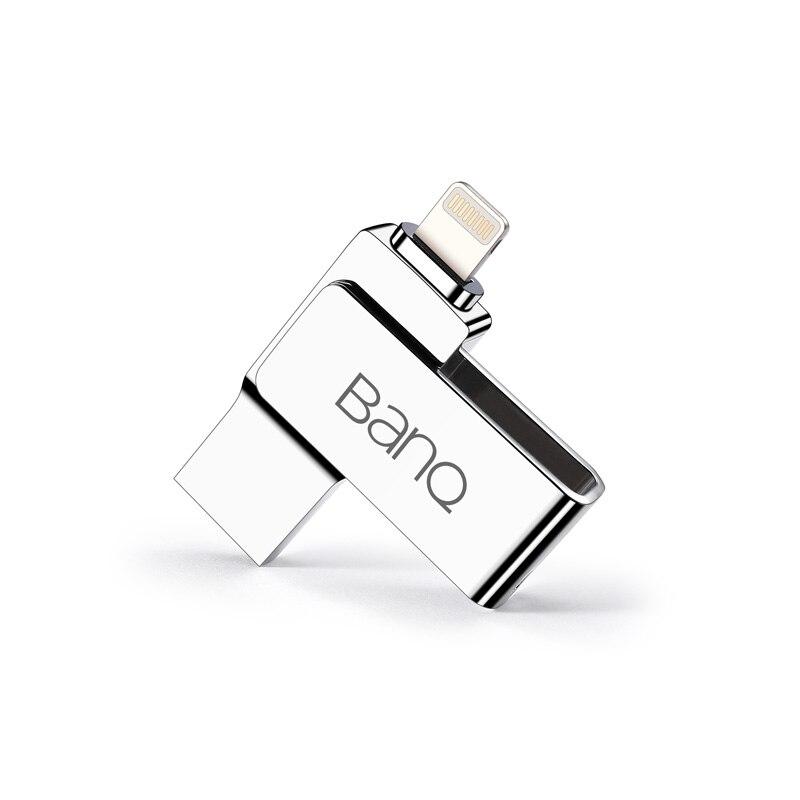 BanQ A60 USB Flash Drive 32GB 64GB For iPhone 7 7 Plus 6 5 5S Lightning to Metal Pen Drive U Disk for MFi iOS10 USB Stick 128GB i flash drive 64gb lightning usb mobile phone flash drive otg usb flash drive for iphone 5 5s 5c 6 6 plus 7 ipad pendrive 64gb