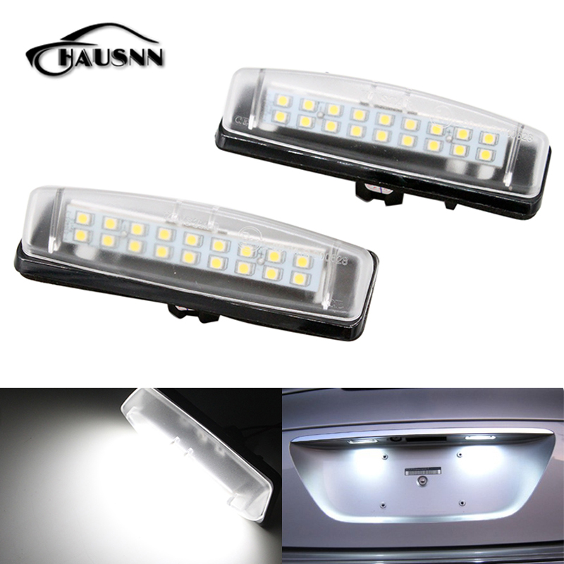 2Pcs/Set HAUSNN LED Number License Plate Light Replacement for Toyota Camry Aurion Avensis Verso Echo Prius 18SMD Pure White 18 smd led license number plate light for toyota camry xv50 corolla fielder nze161 yaris xp150 prius c ractis verso s
