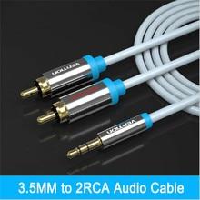 Vention cabo rca jack 2 rca macho para 3.5 cabo de áudio macho 1 m 1.5 m 2 m 3 m aux cabo para edifer home theater dvd iphone fone de ouvido