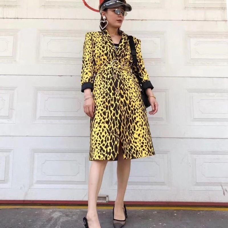 Manches Longues Taille Léopard vent À Tranchée Haute Vêtements Manteau Élégant Femmes Poitrine Unique Yellow Femelle Twotwinstyle De Coupe Windbreaker Mince Revers gS0Sq8w