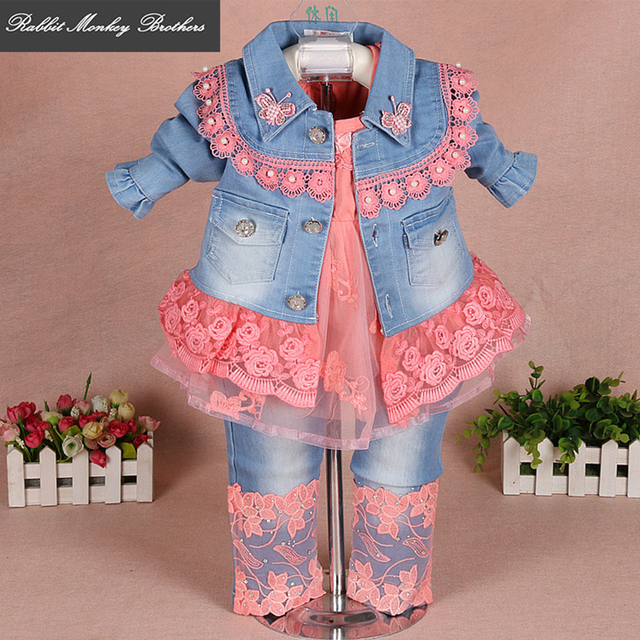 56834ea977af Baby girl clothes spring and fall baby suits newborn girls denim gauze lace  three piece set suit for infant baby girl outfit.