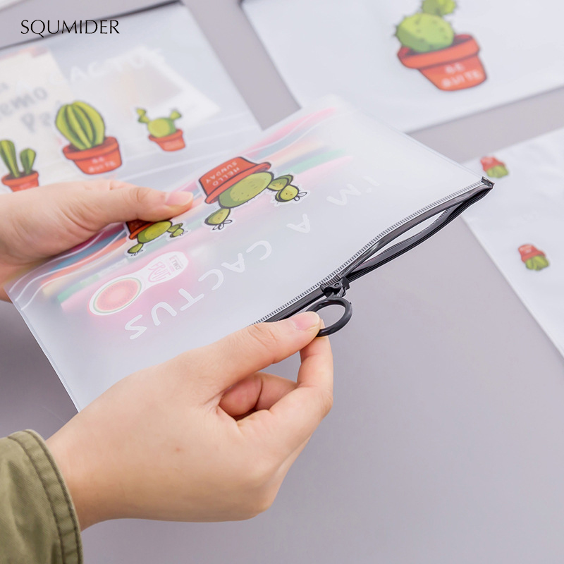 SQUMIDER Cartoon Multi-action Transparent Matte Cosmetic Bag Lovely Cactus Ring Pocket Student Pencil Bag Stationery Bag Gifts