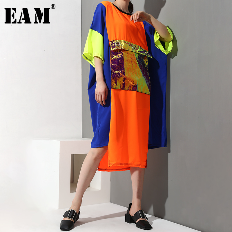 [EAM] 2020 New Spring Summer Round Neck Three-quarter Sleeve Big Pocket Split Joint Big Size Long Dress Women Fashion JX0241