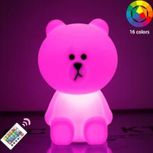 3d led night light 12inch Baby Bedroom lamp Bear Brown Rechargeable Bunny Cony Rabbit for Children Kids Chirstmas Birthday Gift beiaidi big rabbit bear dimmable led night light cartoon bedroom desk table lamp for baby children kids birthday christmas gift