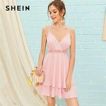 Платье на бретельках SHEIN, розовое платье на бретельках с открытой спинкой и двойным слоем, 2019
