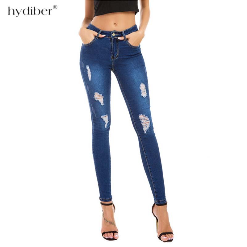 New 2018 Skinny Jeans Women Denim Pants Holes Destroyed Knee Pencil Pants Casual Trousers blue Stretch Ripped Jeans plus size