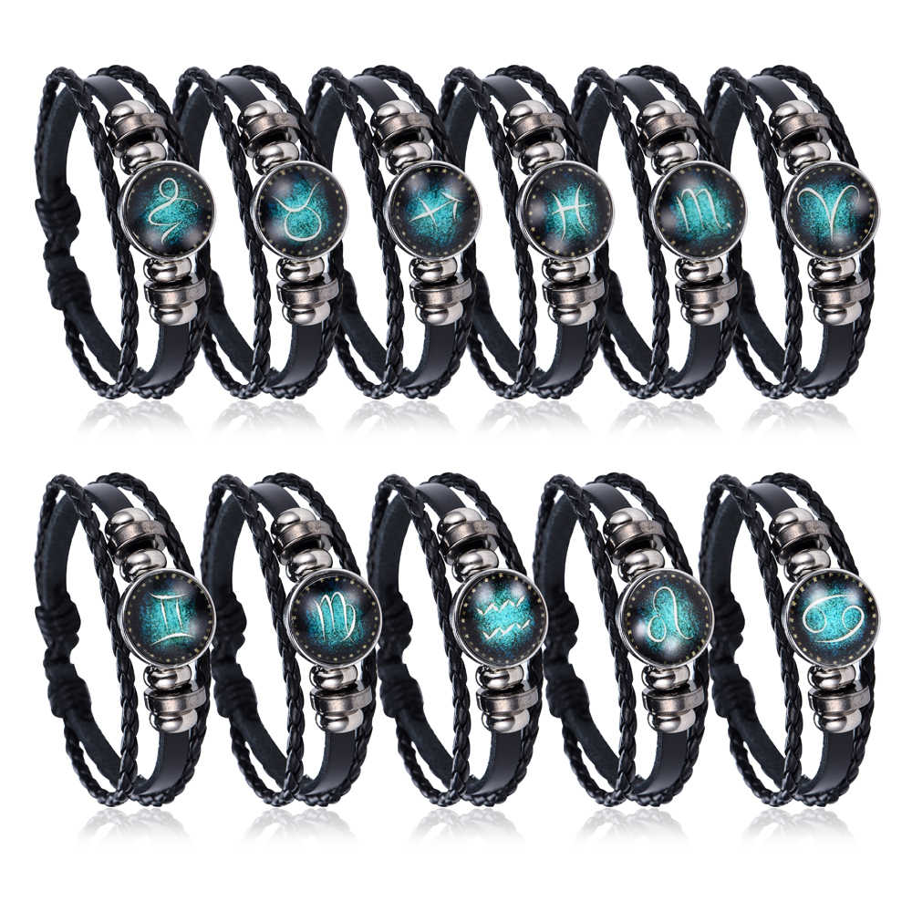 NEW Fashion 12 Constellations Leather Zodiac Sign with beads punk Bangle Bracelets For Men Boys Jewelry Travel Accessories Gifts