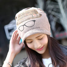 Women Korean Style Glasses Pattern Print Skull Caps Cotton Turban Multifunction Beanie Hats